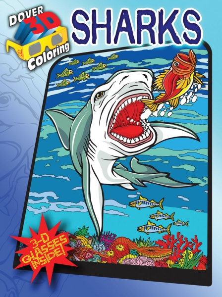 3-D Coloring Book - Sharks