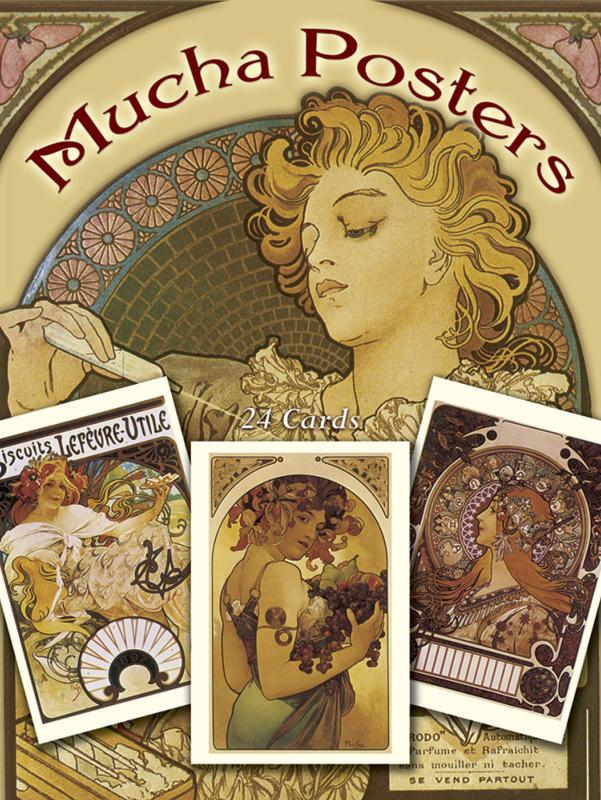 Mucha Poster Postcards in Full Color - 24 Ready-to-Mail Cards
