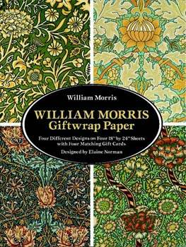 William Morris Giftwrap Paper : Four Different Designs on Four 18 by 24 Sheets with Four Matching