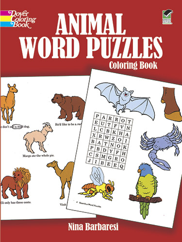 Animal Word Puzzles Coloring Book