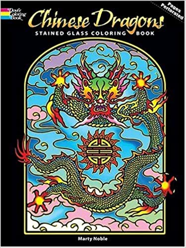 Chinese Dragons Stained Glass Coloring Book